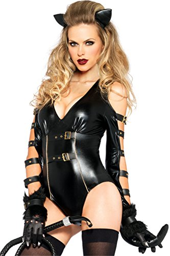 [FiveFour Women's Halloween Costume Sexy Fetish Feline Catwoman Costume] (Snorlax Costume Dress)