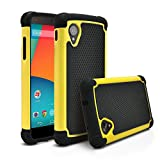 Nexus 5 Case, MagicMobile [Dual Armor Series] Hybrid Impact Resistant Nexus 5 Shockproof Tough Case (Rugged Hard Plastic) + (Rubber Silicone) Skin Protective Case for LG Nexus 5 - Black / Yellow