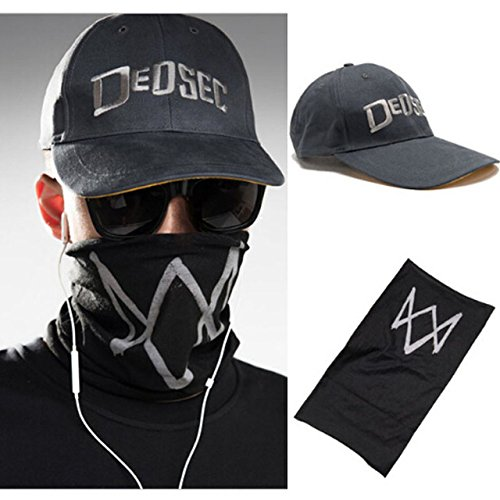 (Laz-Tipa - Unisex Black Face Mask Game Watch Dogs 2 WD2 Marcus Holloway Cosplay Dedsec Hat Cap Party Halloween Costumes Ball)