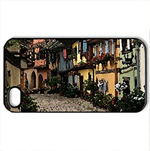 Alley in Eguisheim - Case Cover for iPhone 4 and 4s (Houses Series, Watercolor style, Black)