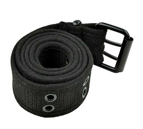 s and Men's Unisex Double Grommet Adjustable Canvas Fabric Belt - Military Style 1.5 Inch Wide Belts - 2 Prong Square Buckle - Bla (Cotton Lined Belt)