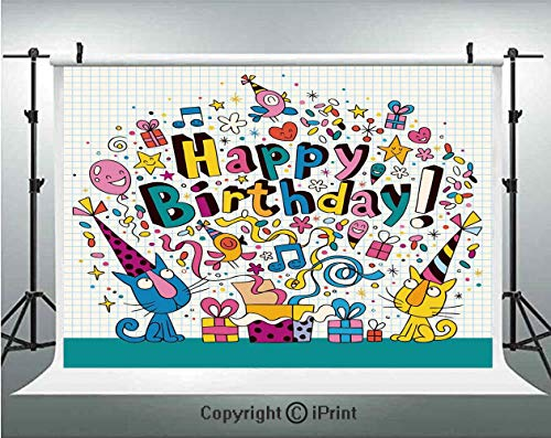 Birthday Decorations for Kids Photography Backdrops Math Note Pad Inspired Cartoon Animals Cats Present Image,Birthday Party Background Customized Microfiber Photo Studio Props,5x3ft,Blue and White