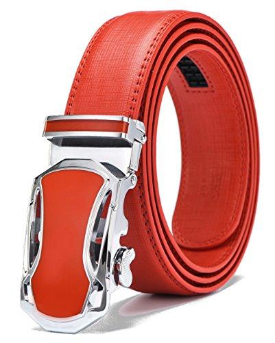 Xhtang Men's Ratchet Red Belt Automatic Buckle Genuine Leather belt 35mm Wide S (Red Genuine Belt)
