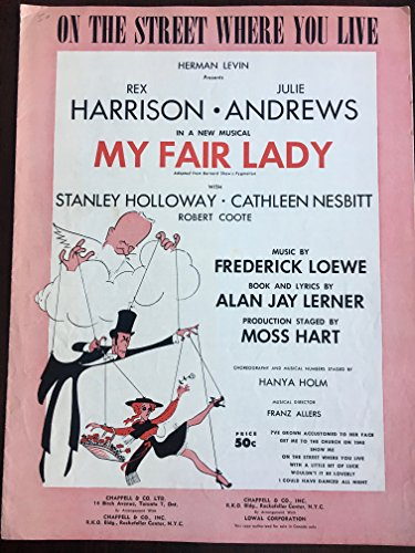 On The Street Where You Live. (Sheet Music) My Fair Lady Original Broadway Cast Cover Art ()