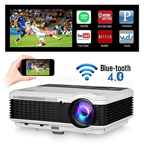 2019 Updated Bluetooth Android Wifi LED Projector Airplay Miracast Full HD 1080P Support 4600 Lumens Smart Home Outdoor Wireless HDMI LCD Video Projector with Bluetooth HDMI USB VGA AV TV Audio In/Out