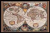 Buyartforless Framed 17Th Century Globes World Map (Antique) Art Poster Print, 36'' X 24''