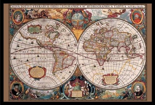 buyartforless Framed 17Th Century Globes World Map (Antique) Art Poster Print, 36