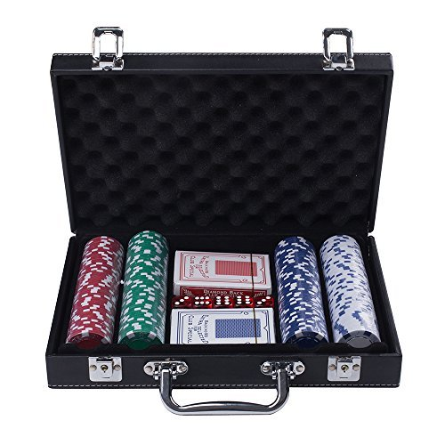 RUNNOW Poker Chips 200 Casino Poker Chip Set 11.5 Grams 5 Dice With 2 Deck of Playing Cards In Leather Case by RUNNOW