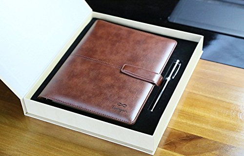 Motivational Magnetic Leather Planner Notebook & Fountain Pen - For Personal and Business (Brown Leather Organizer)