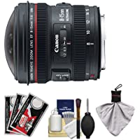 Canon EF 8-15mm f/4.0 L USM Fisheye Zoom Lens with Case & EW-77 Lens Hood + Canon Cleaning Kit for DSLR Cameras