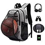 KEYNEW Basketball Bag Football Travel Laptop Backpack with with Card Organizer on Shoulder Strap,Luggage Strap,USB Charging Port fits 15.6 inch Laptop Casual Hiking Daypack