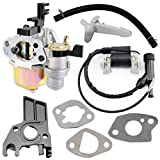 QAZAKY Carburetor Carb with Ignition Coil Gasket Intake Manifold Hose Choke Lever for Honda GX160 5.5hp GX200 6.5hp GX 140 160 Engines Generator Pressure Washer Kart Lawn Mower Water Pump