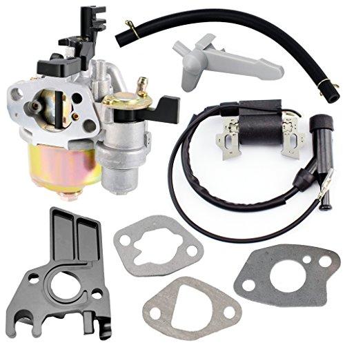 QAZAKY Carburetor Carb with Ignition Coil Gasket Intake Manifold Hose Choke Lever for Honda GX160 5.5hp GX200 6.5hp GX 140 160 Engines Generator Pressure Washer Kart Lawn Mower Water Pump