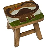 Brontosaurus Dinosaur Design Hand Carved Acacia Hardwood Decorative Short Stool