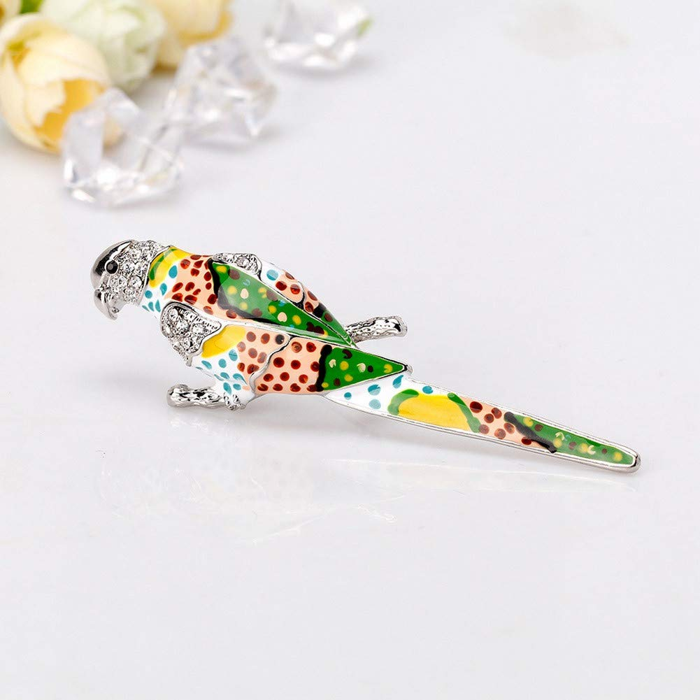 DDLKK Painted Parrot Enamel Lapel Pin Animal Brooch Pins Brooches and pins for Women Alloy Plating Rhinestone Diamond Gifts for Women Woman Fashion Jewelry Brooch for Clothes