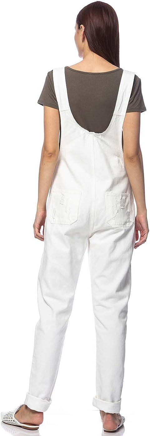 ANNA-KACI Damen Blue Gerades Bein Taschen Overall Jeans-Latzhose