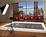 Cheap Laeacco 10×6.5ft Vinyl Backdrop Country Christmas Decoration Photography Background Wooden Window Red Candles Rustic Lantern View to the Mountains Alps Background Children Adults Photo Portrait