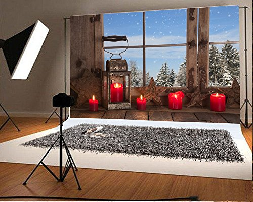Laeacco 10x6.5ft Vinyl Backdrop Country Christmas Decoration Photography Background Wooden Window Red Candles Rustic Lantern View to the Mountains Alps Background Children Adults Photo Portrait