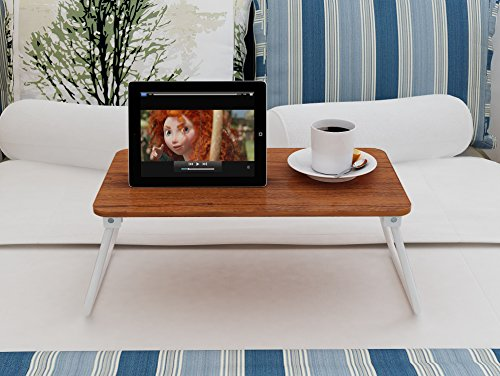 Homebi Lap Desk Tray Table Laptop Stand Portable Bed Desk Breakfast Tray for Bed Couch and Sofa with MDF Top Board and Foldable Metal Legs (11.20''H, Walnut) by HOME BI (Image #3)