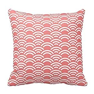 Coral White Scallop Pattern Decorative Pillow Cover For Living Room, Sofa, Etc