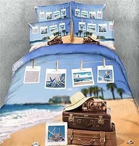 Dodou 3D Digital Duvet Cover Set Beach photos Bedding 100% Cotton Bedding Set 4pcs (Twin)
