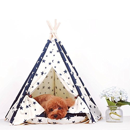 little dove Pet Supplies Canvas Star Style Pet Teepee and Kennels Dog Play House Play Tent Cat Bed