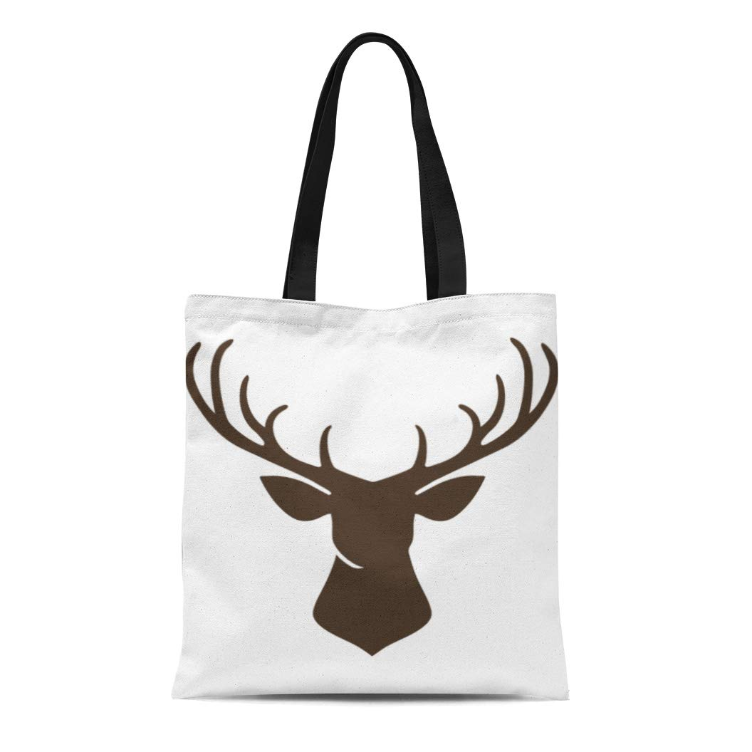 Semtomn Cotton Canvas Tote Bag Cute Forest Animals Collection and Elegant Cartoon Childish Hipster Reusable Shoulder Grocery Shopping Bags Handbag Printed