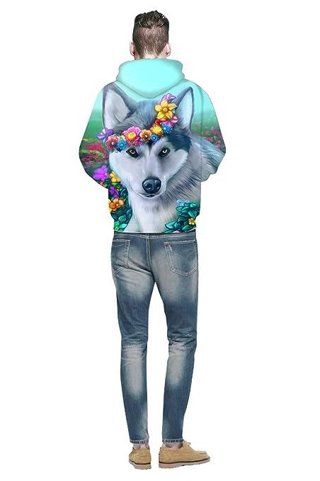 LYJLYJ Lindo Husky Impresión 3D Hoodie Hombre De La Mujer Sudadera con Capucha Universal Chaqueta Sportswear