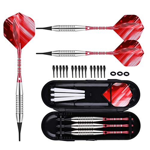 (sanfeng Plastic Tip Darts - 18g Soft Tip Darts w/Rubber O-Rings + Aluminum Shafts Flights + Extra 15 Replacement Soft Tips Accessories for Electronic Dart Board)