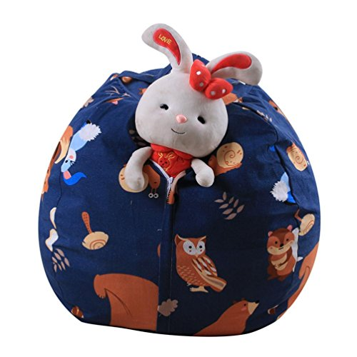 LtrottedJ Kids Stuffed Animal Plush Toy Storage Bean Bag ,Soft Pouch Stripe Fabric Chair (B) (Furniture Outdoor Bangkok)
