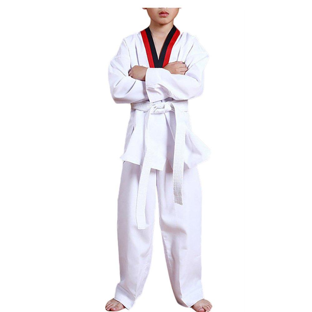 kikigoal Martial Arts Taekwondo Uniform withベルトライト重量伸縮性ウエストバンドfor大人用と子 B074M7TVRN  140