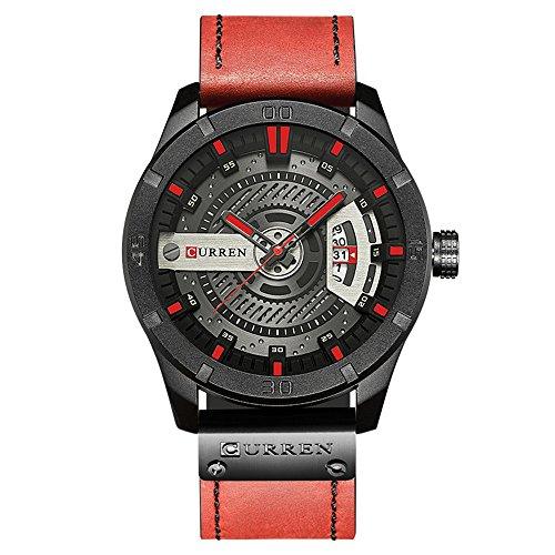 Men Quartz-Analog Watches Military Sport Black Wristwatch Leather Band 8301