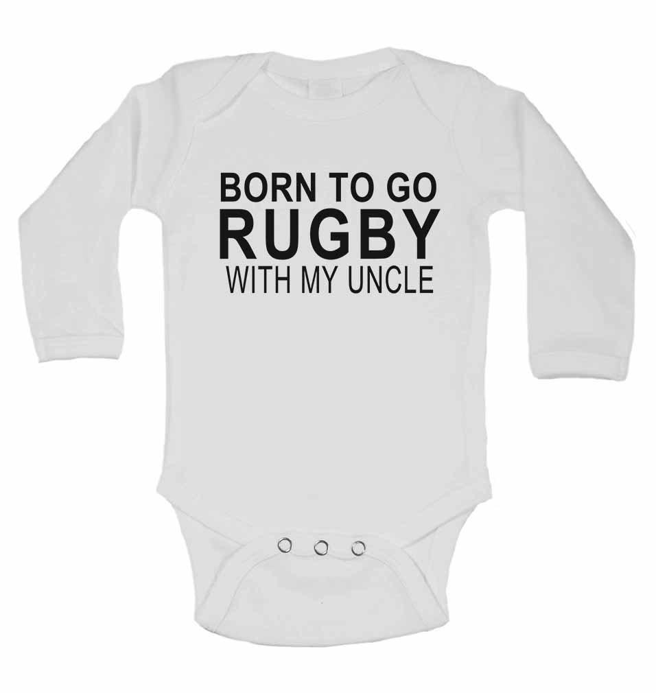 /Neuf personnalis/é b/éb/é /à manches longues gilets bodies b/éb/é SE D/éveloppe pour/ fille/ Born To Go Rugby avec Mon Oncle/ /&nbs /Blanc/ /Gar/çon