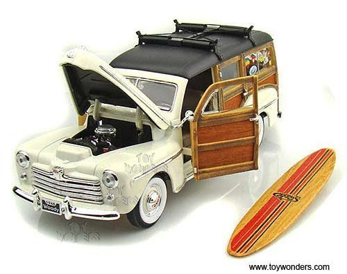 20028cm Yatming - Ford Woody w/ Surfboard (1948, 1:18, Cream) 20028 Diecast Car Model 1 18 Vehicle Toy Auto Automobile Metal ()