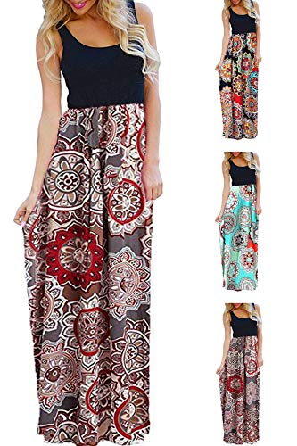 - Womens Tank Top Long Maxi Dresses Summer Boho Empire Chevron Tank Top Casual Beach Dresses (C-Red Flower, Large (US 12-14))