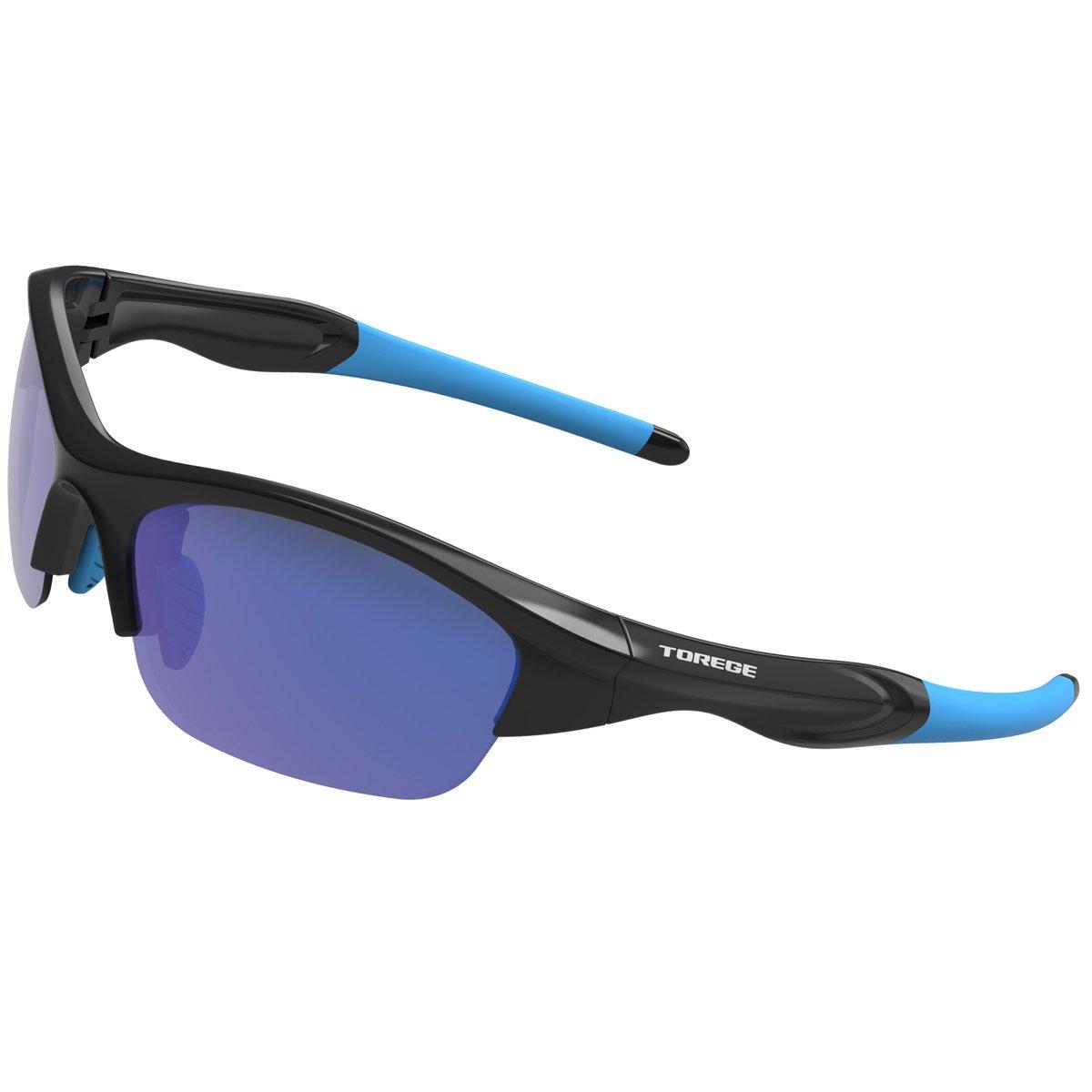 TOREGE Tr90 Flexible Kids Sports Sunglasses Polarized Glasses Junior Boys Girls Age 3-15 TR041 (Black&Blue Blue Lens)
