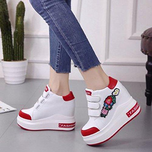 Giy Wedges Espadrilles Pour Les Femmes, Haut Talon Caché Crochet-et-boucle Plate-forme De Marche Fleurs De Mode Sneaker Blanc-rouge