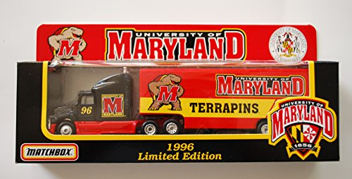 U. of Maryland Terrapins 1996 NCAA Matchbox White Rose Diecast Ford Aeromax Tractor Trailer 1/87 Scale Truck Collectible Team Car by NCAA