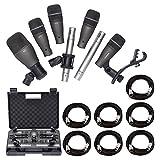 Samson DK707 7-Piece Drum Microphone Kit + 7x On Stage Mic Cable, 20 ft. XLR Bulk + Value Recording Bundle