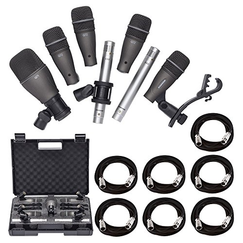 Samson DK707 7-Piece Drum Microphone Kit + 7x On Stage Mic Cable, 20 ft. XLR Bulk + Value Recording Bundle by Samson Technologies