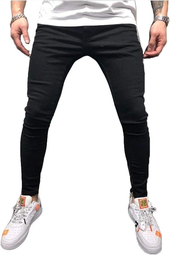 メンズジーンズタイトなストレッチ、足首ジッパーデニムパンツの足,黒,XXXL