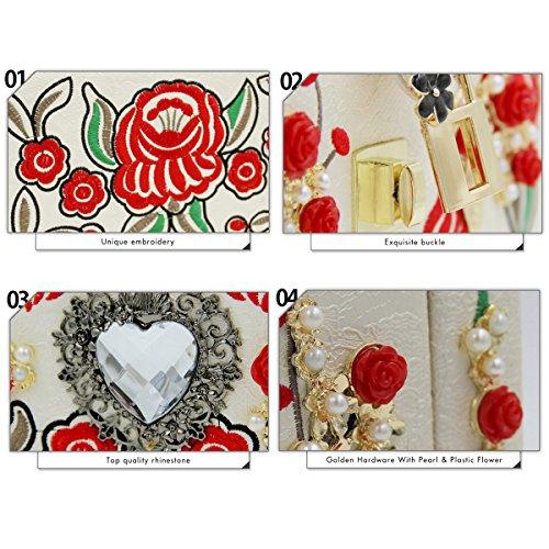 rose strass sac blanc la dames à métal main en chaîne d'épaule carrée de bandoulière avec et White brodé Flada boîte sac sculpté à ceinture femmes gPUzYz