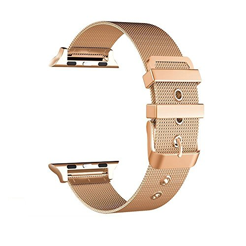 Mesh Buckle Gold (Gold Color Stainless Steel Smart Watch Band Buckle, Milanese Mesh Loop Replacement Watch Band Compatible iPhone Watch Series 4/3/2/1 (44mm/42mm))