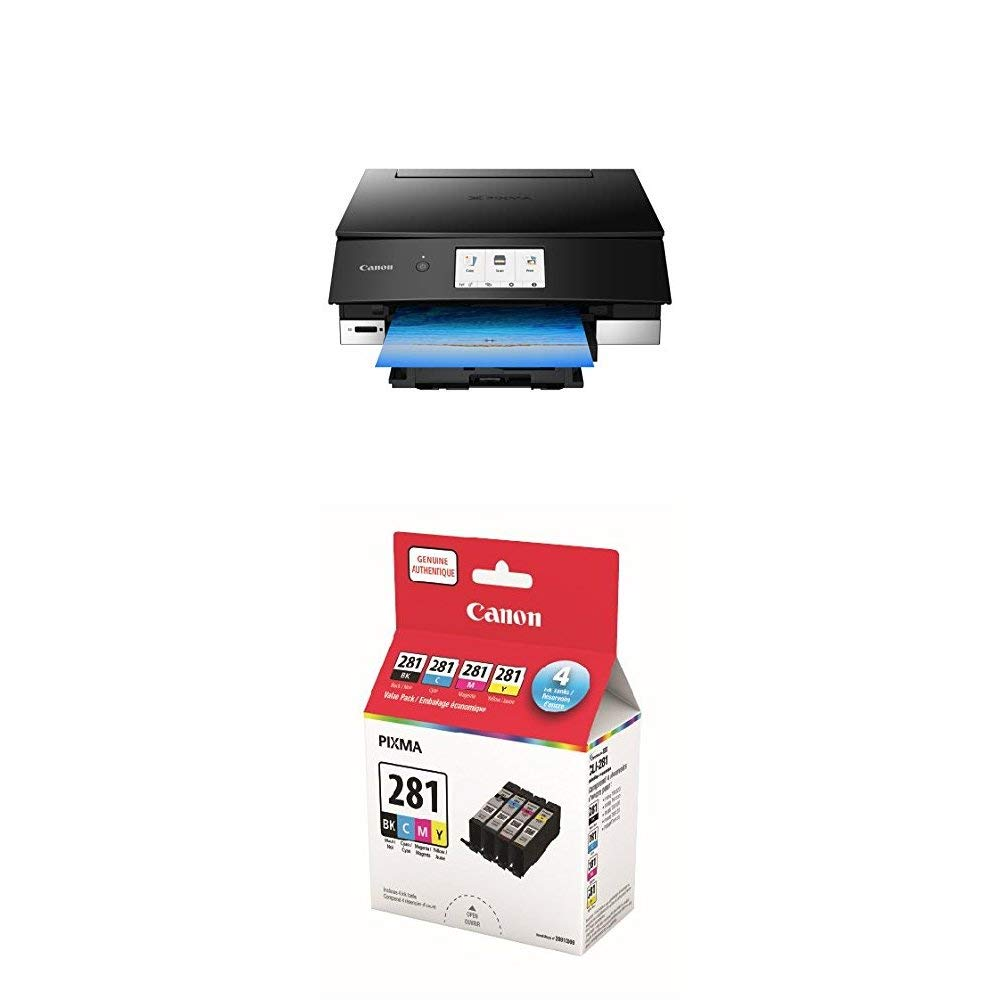 Canon PIXMA TS8220 Wireless Color Photo Printer with Scanner & Copier, Black and Ink Value Pack bundle