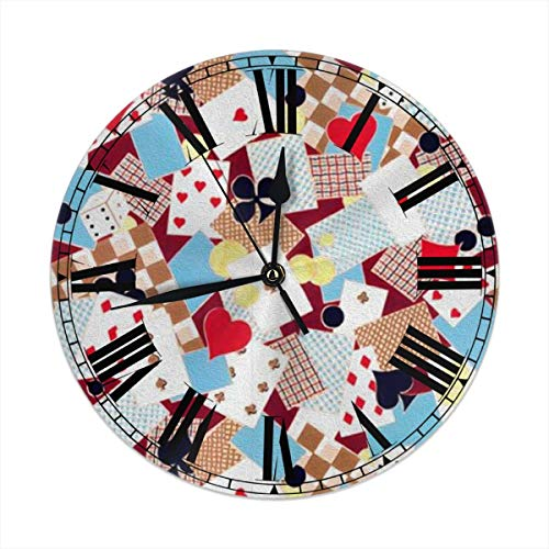 (FEAIYEA Wall Clock Playing Cards Decorative Wall Clock Silent Non Ticking - 9.8Inch Round Easy to Read Decorative for Home/Office/School Clock)