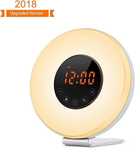 Night Light Lamp Touch to Snooze Bedside Digital Alarm Clock Wake-Up Light Alarm Clock with Sunrise Simulation Mpow Sunrise Alarm Clock 20 Brightness Dual Alarm with FM Radio 6 Natural Sound