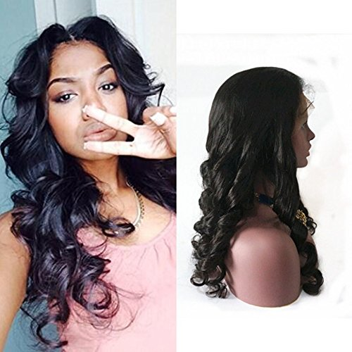 Fanshow Hair Pre Plucked Silk Top 360 Lace Frontal Wig Loose Wave Brazilian Virgin Hair Glueless 360 Lace Wig with Baby Hair 180 Density (18