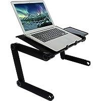 ALL NATURALS Mesa Escritorio Plegable para Laptop con Soporte para Mouse, Estructura de Aluminio Negro con Orificios…