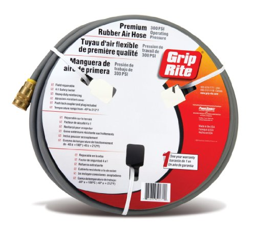 Grip-Rite GRPRB3810C Premium Rubber Air Hose with Couplers, 3/8-Inch by 100 Feet