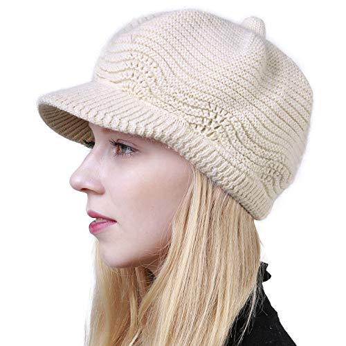 (Women's Winter Hat Slouchy Cable Knit Visor Crochet Beanie Hats Warm Snow Ski Skull Cap with Brim Beige)